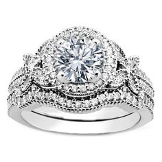Vintage Style Round Diamond Halo Butterfly Engagement Ring and Wrap Wedding Band...woah. too big.