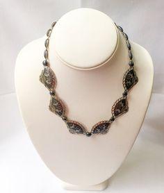 Vtg 925 Sterling Silver Puffy Disc Design Spiral Collar Necklace 15