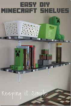 Minecraft Boys Bedroom Ideas- Easy DIY Minecraft Shelves Super easy DIY Minecraft shelves are perfect for a Minecraft themed bedroom! Just take regular shelves and paint them to look like pixelated, just like in the Minecraft world. Room Decor For Teen Girls, Boys Room Decor, Boy Room, Kids Room, Bedroom Themes, Diy Bedroom Decor, Bedroom Ideas, Home Decor, Bedroom Designs