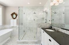 All white bathroom remodel black and white bathroom design with white vanity black small bathroom remodel . Bathroom Remodel Cost, Shower Remodel, Bathroom Renovations, Bath Remodel, House Renovations, Budget Bathroom, Bathroom Cost, Restroom Remodel, Bathroom Laundry