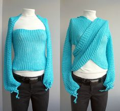 """EASY peasy knit. This is just a very stretchy ballet shrug with an incredibly long mid section. Knit about 15"""" sleeve width, add evenly to desired width over about 10"""", keep going until it is long enough two go up your arm, wrap around your chest, and over the other shoulder, then decrease over 10 back down to sleeve width and then do 15"""" at sleeve width. Sew the sleeve width parts into sleeves. If you haven't the patience to do this yourself, buy one of these. They're completely cool."""