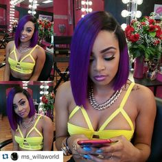 Ombre Purple Color Glueless Short Lace Front Wigs Brazilian Human Hair Bob Cut Wigs for Black Women 130 Density Black Girls Hairstyles, Pretty Hairstyles, American Hairstyles, Love Hair, Gorgeous Hair, Weave Hairstyles, Straight Hairstyles, Short Hair Styles, Natural Hair Styles