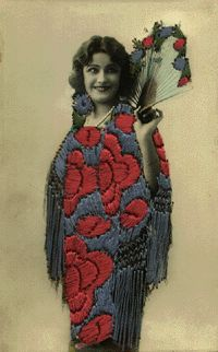 Real photo Postcard with embroidery