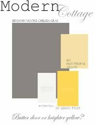 Just a great color palette to use with my favorite gray. Chelsea Gray Siding- BM Chantilly White- Trim Hawthorne Yellow OR Lemon Twist Door Or apple green door! Hawthorne yellow in living room Exterior Paint Colors, Exterior House Colors, Paint Colors For Home, Cottage Exterior, Paint Colours, Yellow Front Doors, Front Door Colors, Grey Houses, Yellow Houses