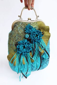 Felted bag. Streamlet Felted Bag Bag felted  flower от effeminacy