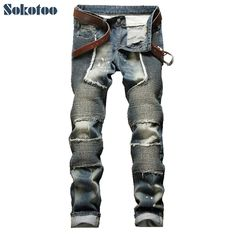 32.30$  Buy here - http://ali7tz.shopchina.info/go.php?t=32682055328 - Sokotoo Men's vintage pleated patchwork skinny pencil pants Male casual stretch denim biker jeans Long trousers 32.30$ #buyonline