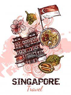 Singapore Art, Singapore Travel, Lino Design, Panda Drawing, Hand Lettering, Lettering Ideas, Photo Album Scrapbooking, Travel Posters, Pop Art