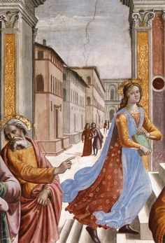 Domenico Ghirlandaio, Presentation of the Virgin at the Temple, 1486-1490, fresco at Cappella Tornabuoni, Santa Maria Novella, Florence.