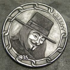 Steve Cox - Guy Fawkes V for Vendetta Antique Coins, Old Coins, Engraving Ideas, Hobo Nickel, V For Vendetta, Coin Art, Guy Fawkes, New Hobbies, Coin Collecting