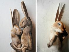 Hares in Embrace & Weeping Hare With Tiny Glass Tears by Mr Finch