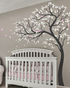 Natural Nursery Tree With Birds for nature theme room wall decal for nursery, home and playroom. Kids love our designs of wall decals and stickers. Buy Nursery, kids home and offices wall decals online here Nursery Wall Murals, Nursery Paintings, Tree Decal Nursery, Nursery Decals Girl, Wall Decals For Bedroom, Tree Wall Painting, Tree On Wall, Bird Wall Decals, Tree Decals