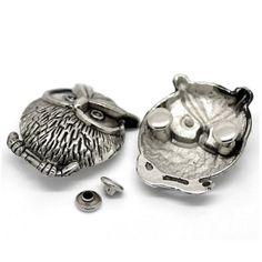 20Sets Antique Silver Tone Owl Birds Metal Classic Spikes Rivets Studs Spots For Hats Bags Decoration 3.5x2.8cm