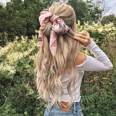 Hair goals! Love the hair scarf! @alexgaboury PINTEREST: @eva_darling