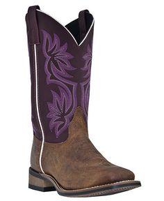 Laredo Fancy Stitched Purple Cowgirl Boots - Square Toe