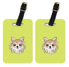 Pair of Checkerboard Lime Green Chihuahua Luggage Tags BB1313BT