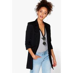 Boohoo Faith Fully Lined Ponte Longline Blazer ($44) ❤ liked on Polyvore featuring outerwear, jackets, blazers, black, long boyfriend blazer, long blazer jacket, pastel jacket, duster coat and ponte knit blazer