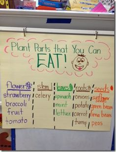 "Extension of plant unit: edible plant parts. Links to anchor chart, door/wall display craftivity (with free download). Thanks ""First Grade Wizards"" (Nina)!!"