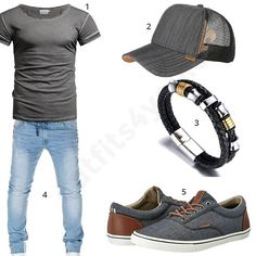 Cooler Männer-Style mit Crone Shirt, grau-beige Djinns Cap, Halukakah, Wotega Jeans und graue Jack & Jones Sneaker. #style #fashion #herrenmode #herrenstyle #meanswear