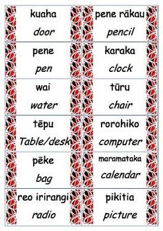 These labels were made to fit a New Zealand classroom. They have the english and Maori translation. Teaching Tools, Teaching Kids, Kids Learning, School Resources, Teacher Resources, Maori Songs, Box Light, Waitangi Day, Classroom Labels