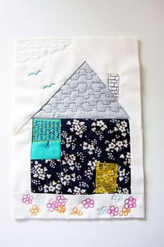 Free motion stitched houses on the blog today