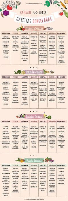Como fazer comida congelada: cardápio e dicas para refeições saudáveis - pionero de la cosmética, alimentación, moda y confección Healthy Eating Tips, Healthy Life, Healthy Recipes, Healthy Meals, Menu Dieta, Food Menu, Workout Programs, Health Fitness, Low Carb