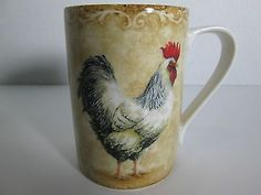 Rustic Rooster Coffee Mug 222 Fifth Fine China Porcelaine Farm | eBay  $14.99 /free