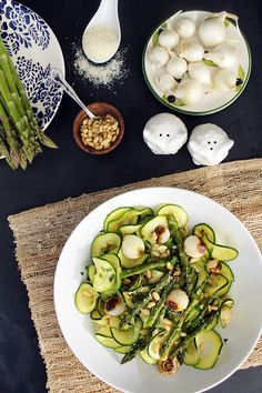 Balsamic Roasted Pearl Onions, Asparagus & Toasted Pine Nuts with Zucchini Pasta