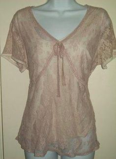 Women Plus LANE BRYANT CHAMPAGNE LACE CAREER TOP & CAMI Size XL o 14 / 16 Blouse