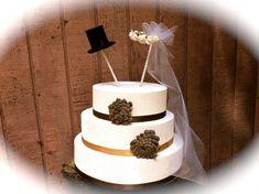 Rustic wedding cake topper vintage cylinder headband country fall alternative weddings