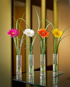 Set of 4 Gerbera Daisy Silk Flower Bud Vases