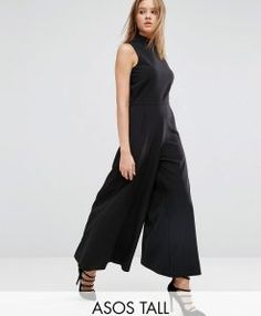Browse online for the newest ASOS TALL Jumpsuit With Culotte Leg And High Neck styles. Shop easier with ASOS' multiple payments and return options (Ts&Cs apply). Long Jumpsuits, Playsuits, Jumpsuits For Women, Monochrome Fashion, New Fashion Trends, Tall Women, Overall, Occasion Dresses