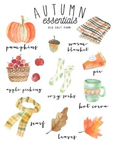 A fall printable that features all the autumn favorites...pumpkins, apple picking, cozy socks, plaid blanket, changing leaves, and more. Free printable...use as fall decor, or even as a card or tag! Free printables. #falldecor #fallprintable #autumnprintable #watercolorprintable #watercolorfall #watercolorautumn #freefallprintable #freeautumnprintable #printabledecor #printablefalldecor Easy Fall Crafts, Fall Crafts For Kids, Fall Diy, Thanksgiving Crafts, Printable Scrapbook Paper, Printable Art, Changing Leaves, Cozy Socks, Fall Gifts