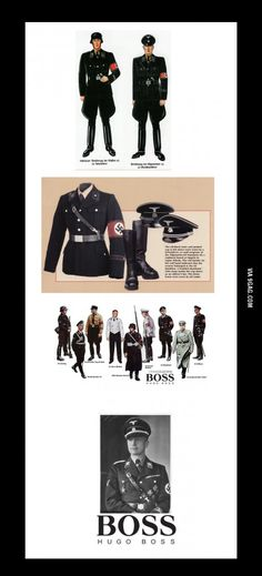 Hugo Boss, the designer if brown shirts for the nazi uniforms in the 30's and the manufacture of uniforms designed a nazi in the 40's. They used jewish slave labor in factory. After the war they paid a 100.000 fine.