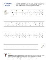 Uppercase N letter tracing worksheet, with easy-to-follow arrows showing the proper formation of the letter.