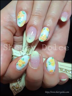 Beautiful/ warm nails/ ready for spring/ flower nails //