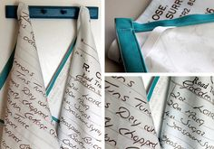 DIY Tea Towel: Turn keepsake recipes from loved ones into heirloom tea towels by printing them on linen-cotton canvas. Simply scan each recipe card into Picasa, format them to fit to one yard of fabric and upload to Spoonflower.com.