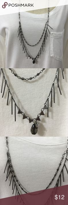 "Abercrombie & Fitch 28"" Necklace Gun metal in color.  Edgy with spikes, 2nd chain and teardrop shape black glass bead. Super nice! Abercrombie & Fitch Jewelry Necklaces"