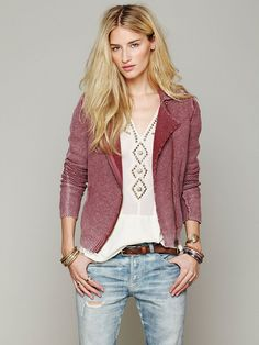 Free People Zip Up Sweater Jacket at Free People Clothing Boutique