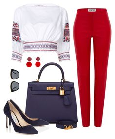 Untitled #64 by brianamaria18 on Polyvore featuring polyvore fashion style TIBI Loewe Hermès Marni Le Specs clothing