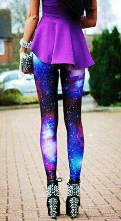 Purple galaxy leggings with purple shirt.