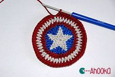 Star in a crochet circle tutorial for Captain America