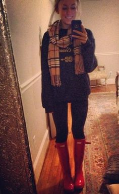 Leggings, hoodless sweatshirt, burberry inspired scarf and red hunter rain boots