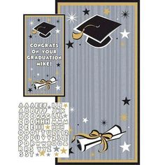 Celebrate the new graduate with our Black & Gold Personalized Graduation Door Decoration, which features a large black and gold trimmed silver striped decoration with cap and diploma details with a large space in between to be personalized with the included sheet of white peel-and-stick letters, numbers and chromatic stars. This Personalized Graduation Door Decoration mounts easily with double sided tape and measures 65in x 33 1/2in.