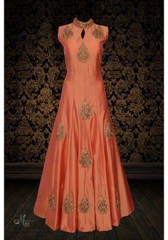 Trendy peach ensemble adorn in stylish embroidery Anarkali Dress, Red Lehenga, Pakistani Dresses, Indian Dresses, Indian Outfits, Lehenga Choli, Gown Dress, Eid Outfits, Bridal Outfits