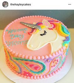 Baby Showers - Hayley Cakes and Cookies Baby unicorn baby shower cake! Gateau Baby Shower, Baby Shower Cakes, Baby Cakes, Girl Cakes, Birthday Cake Girls, Unicorn Birthday, Birthday Cakes, Birthday Design, Birthday Ideas