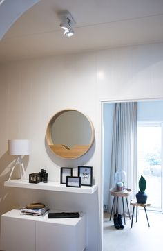 Mirror round wall setting