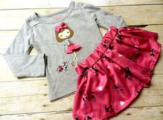 Colette Lilly Girls 2 Pc Top & Skort NWT Sz 2T Bow Accent On Top Dog W Tutu #ColetteLilly