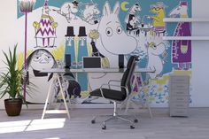 Moomin wallpaper in the office