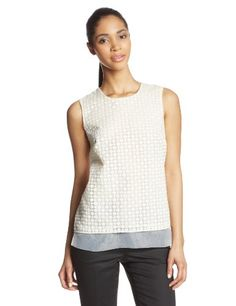 21% Off was $99.00, now is $78.38! Vince Camuto Women's Sleeveless Organza Dot Blouse