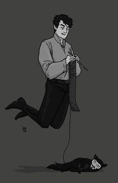 """nowisthewinter: """"More What We Do In The Shadows fanart. There's something sweet about Deacon knitting. Like as much as he tries to be a bad boy, he has this gentle streak. And you know all the rest of..."""